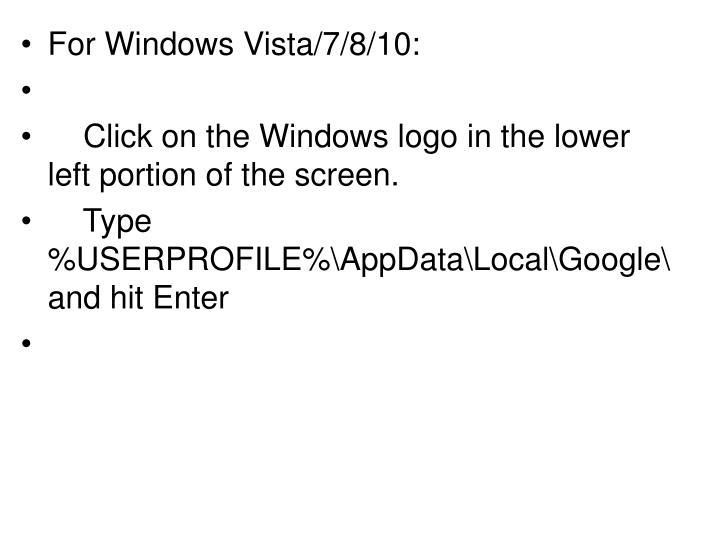 For Windows Vista/7/8/10: