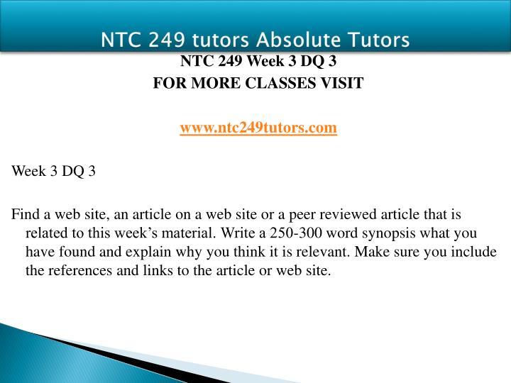 NTC 249 tutors Absolute Tutors
