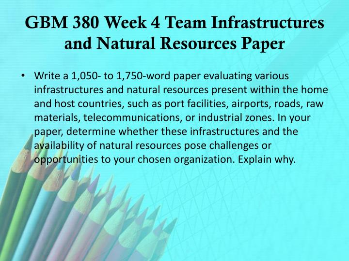 GBM 380 Week 4 Team Infrastructures and Natural Resources Paper