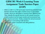 gbm 381 week 4 learning team assignment trade barriers paper uop