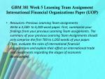 gbm 381 week 5 learning team assignment international financial organizations paper uop