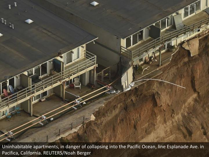 Uninhabitable apartments, in danger of collapsing into the Pacific Ocean, line Esplanade Ave. in Pacifica, California. REUTERS/Noah Berger