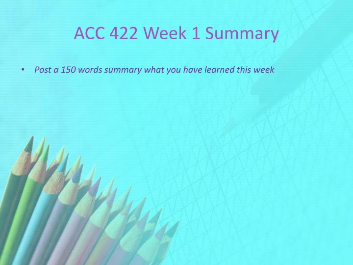 ACC 422 Week 1 Summary