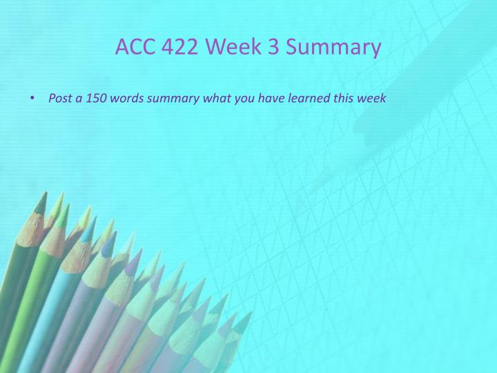 ACC 422 Week 3 Summary