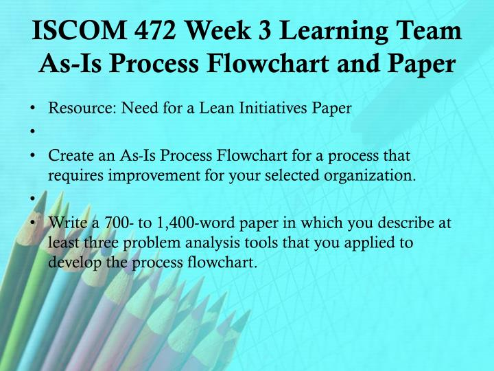 ISCOM 472 Week 3 Learning Team As-Is Process Flowchart and Paper