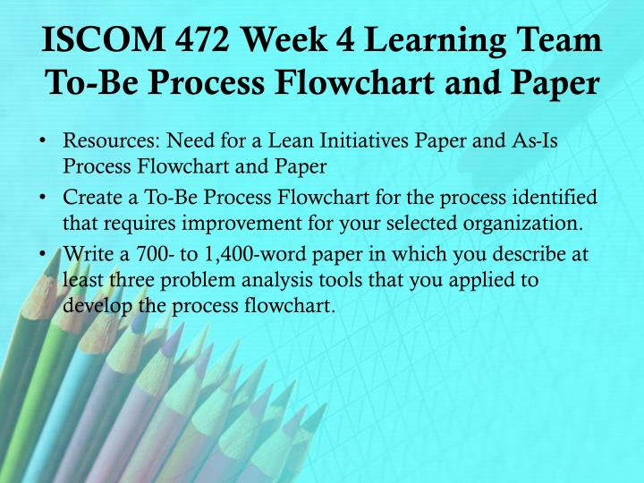 ISCOM 472 Week 4 Learning Team To-Be Process Flowchart and Paper