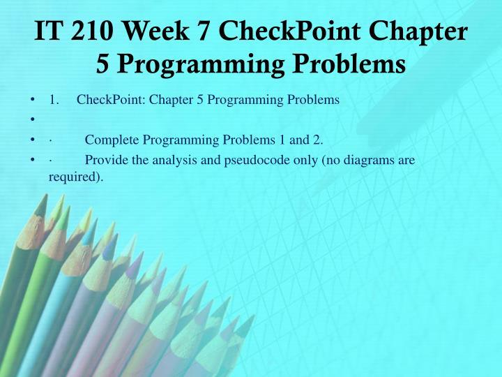 IT 210 Week 7
