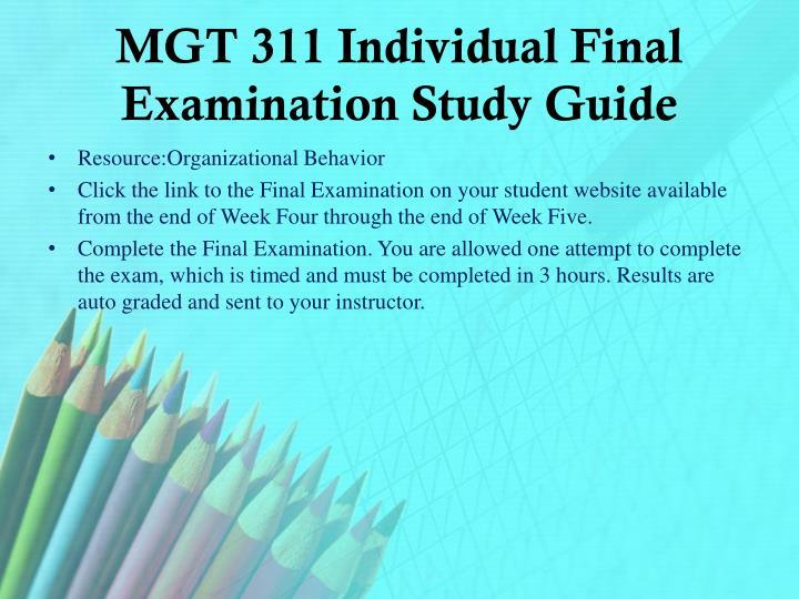 MGT 311 Individual Final Examination Study Guide
