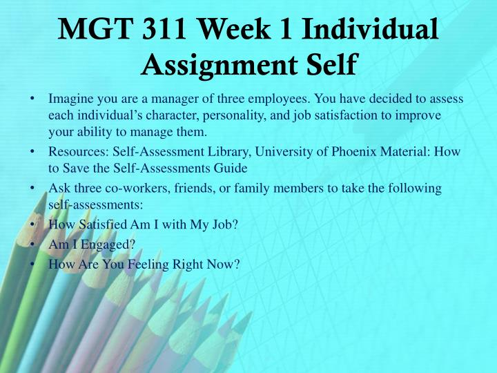 MGT 311 Week 1 Individual Assignment Self