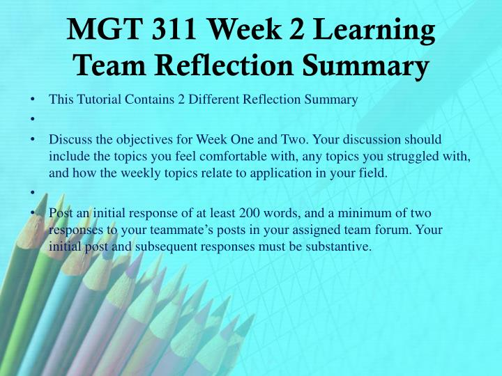 MGT 311 Week 2 Learning Team Reflection Summary