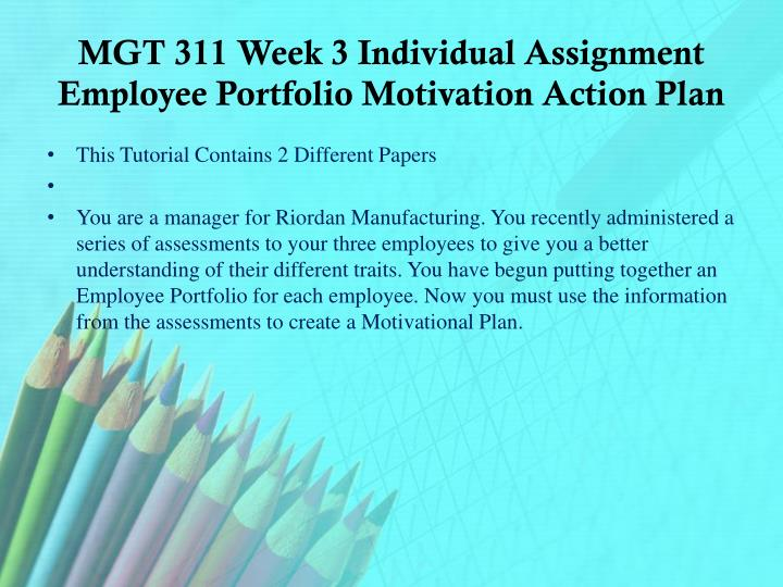 MGT 311 Week 3 Individual Assignment Employee Portfolio Motivation Action Plan