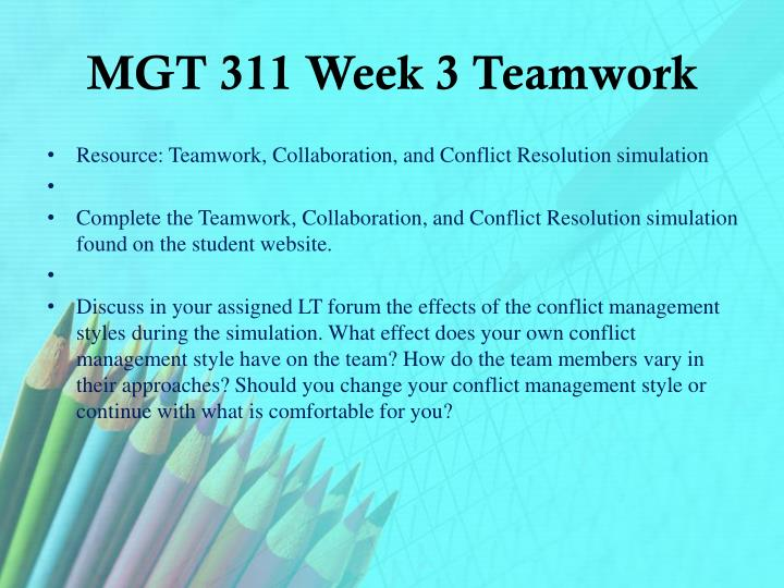 MGT 311 Week 3 Teamwork