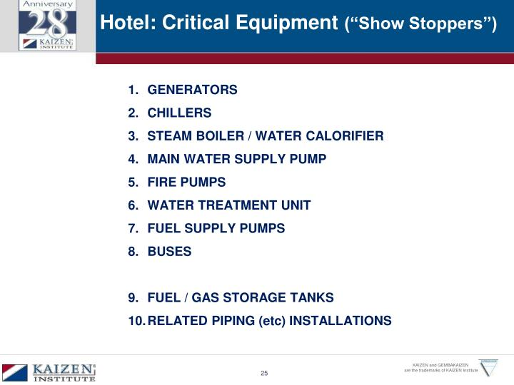 Hotel: Critical Equipment