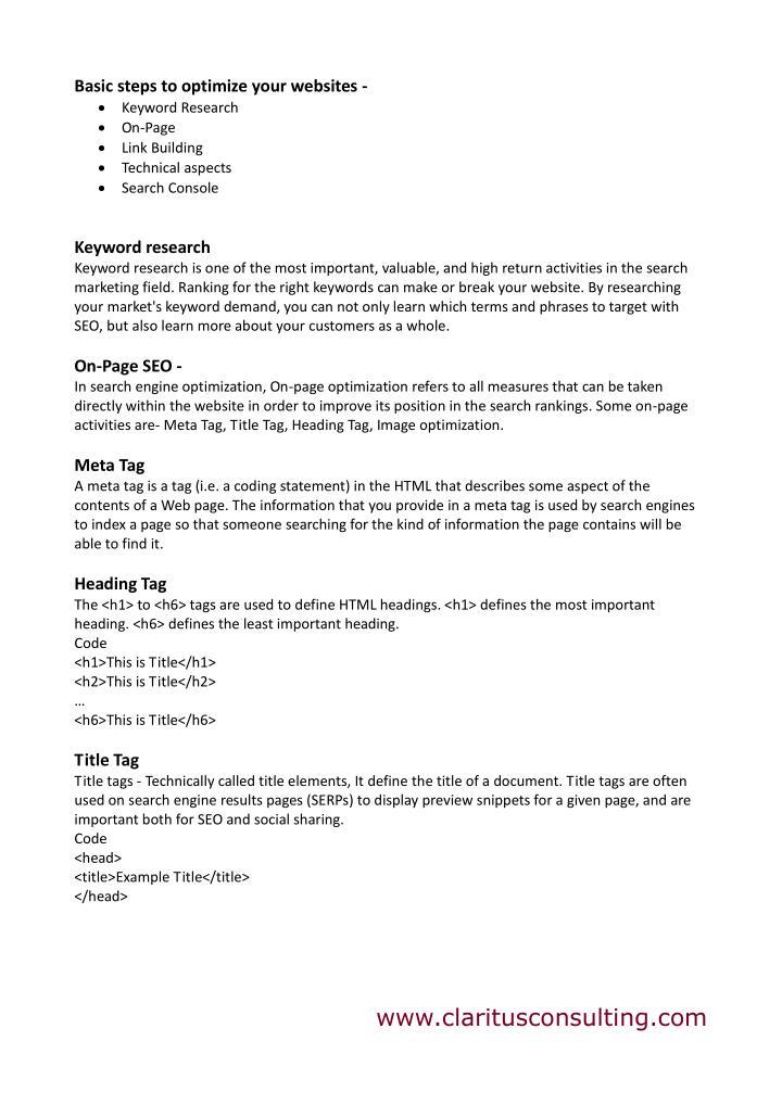 Basic steps to optimize your websites -