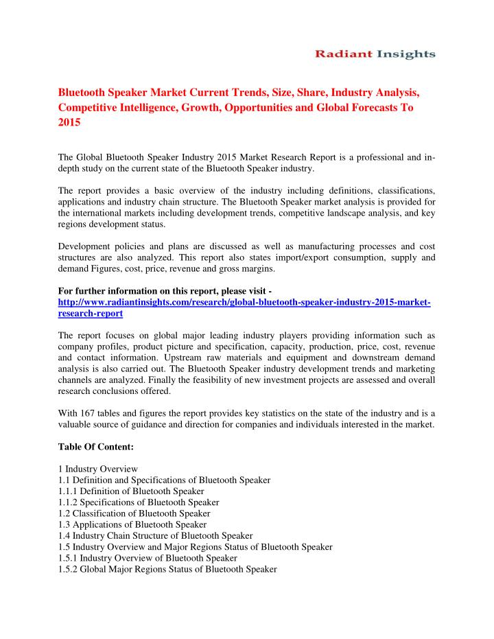 Bluetooth Speaker Market Current Trends, Size, Share, Industry Analysis,