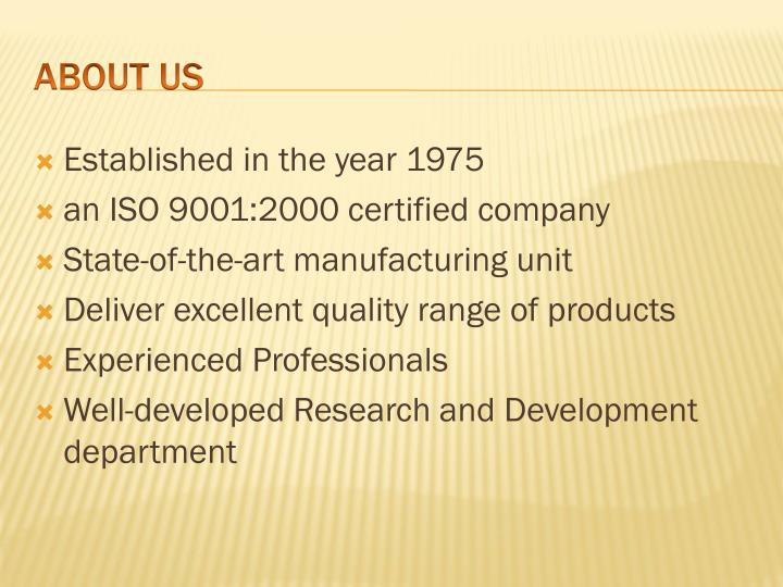 Established in the year 1975