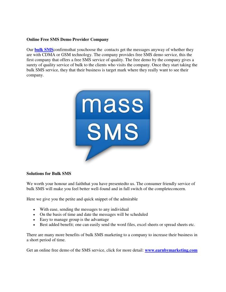 Online Free SMS Demo Provider Company