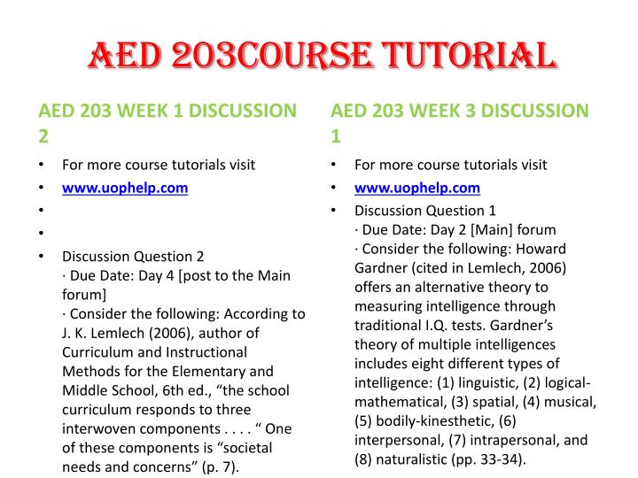 AED 203Course Tutorial