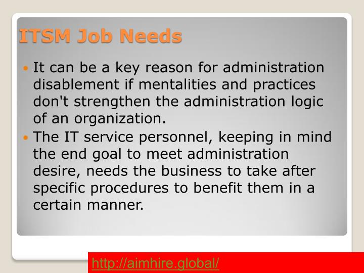 ITSM Job Needs