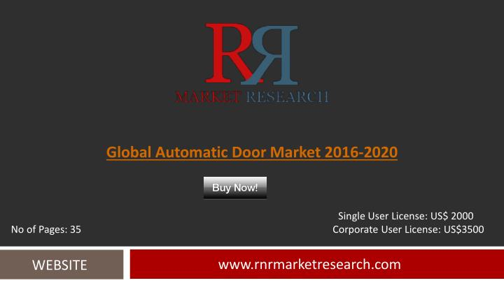 Global Automatic Door Market 2016-2020
