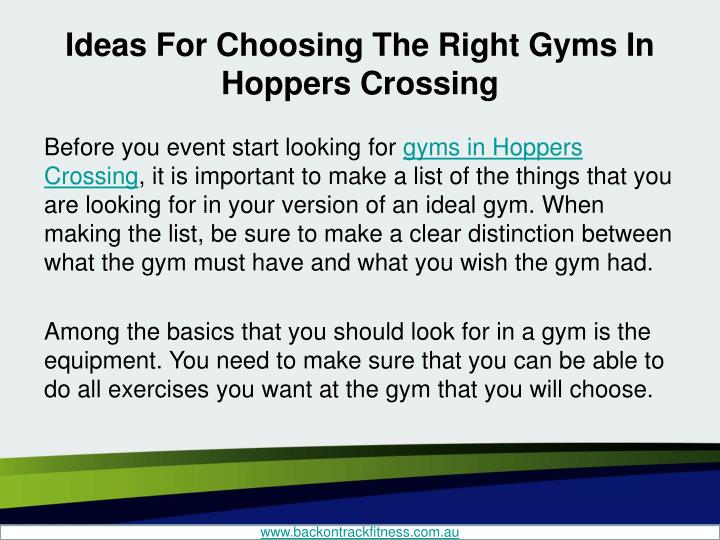 Ideas for choosing the right gyms in hoppers crossing2