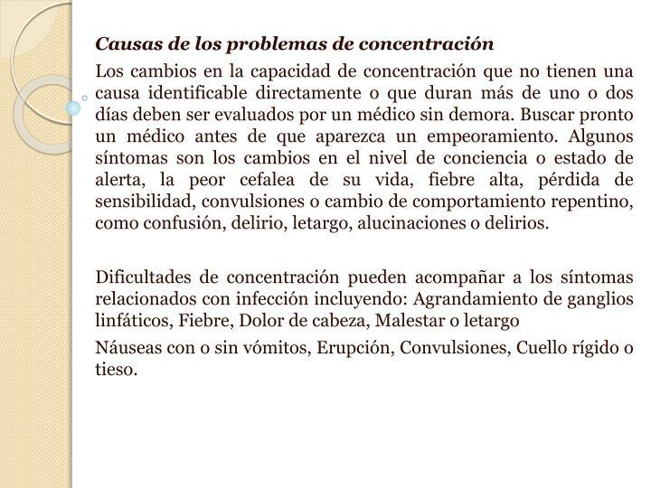 Causas de los problemas de concentración