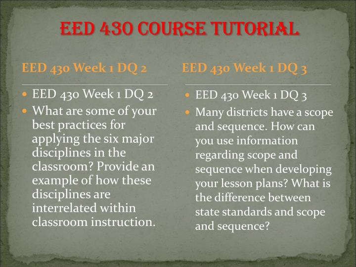 EED 430 Course