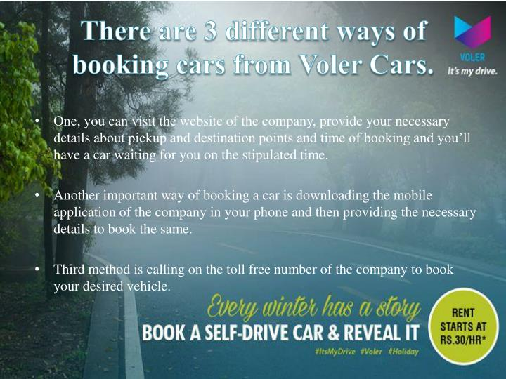 There are 3 different ways of booking cars from