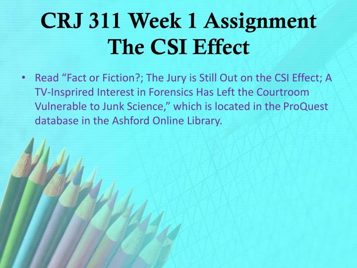 CRJ 311 Week 1 Assignment The CSI Effect