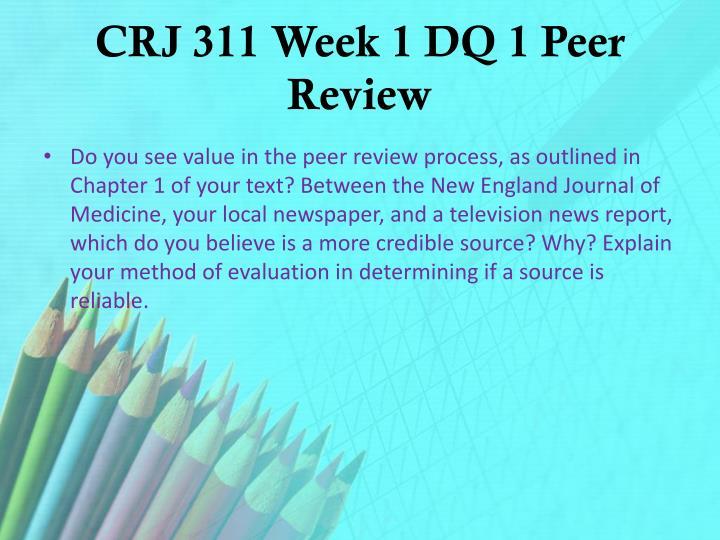 CRJ 311 Week 1 DQ 1 Peer Review
