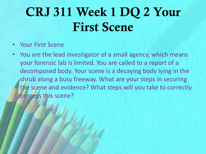 CRJ 311 Week 1 DQ 2 Your First Scene