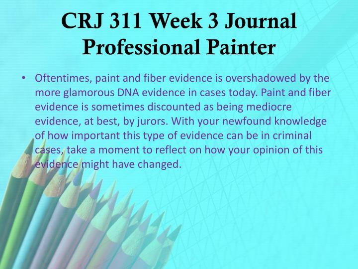 CRJ 311 Week 3 Journal Professional Painter