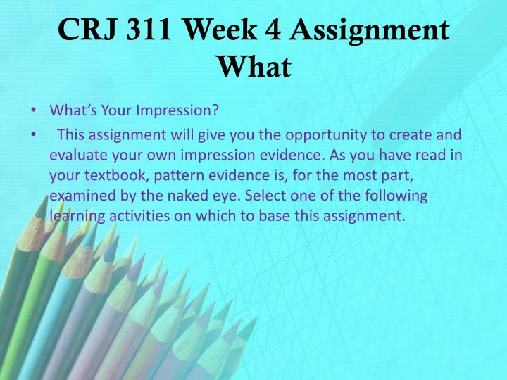 CRJ 311 Week 4 Assignment What