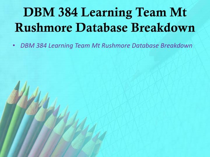 DBM 384 Learning Team Mt Rushmore Database Breakdown