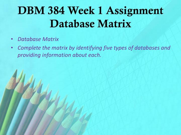 DBM 384 Week 1 Assignment Database Matrix