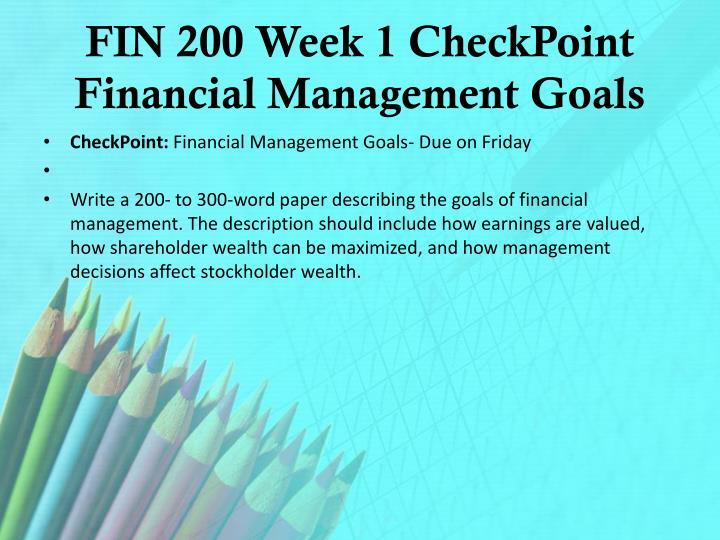 FIN 200 Week 1