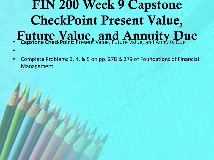 FIN 200 Week 9 Capstone