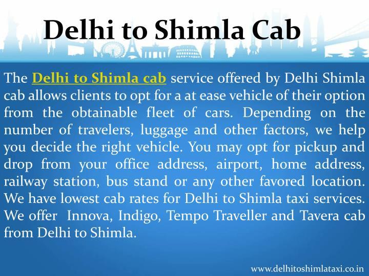 Delhi to Shimla Cab