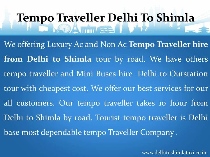 Tempo Traveller Delhi To Shimla
