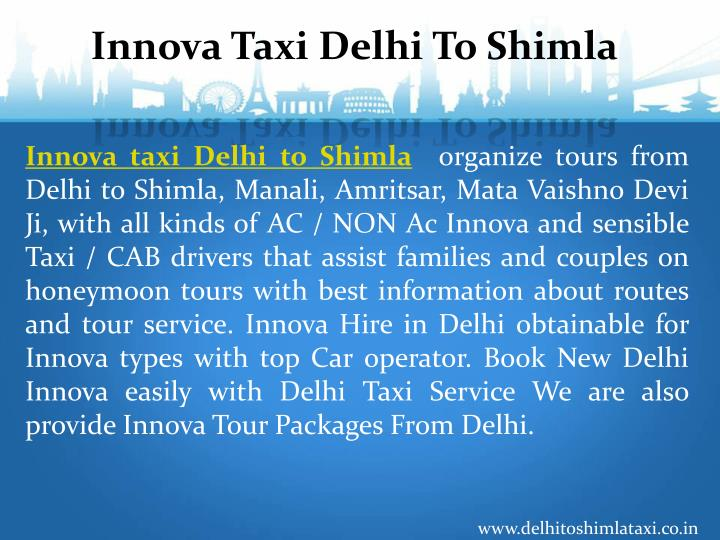 Innova Taxi Delhi To Shimla