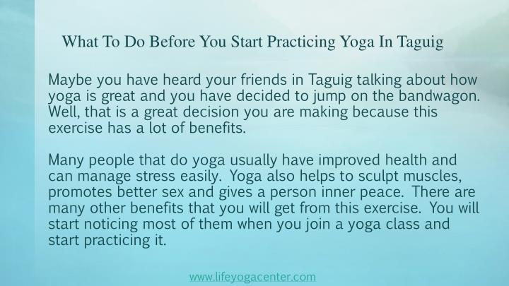 What to do before you start practicing yoga in taguig1