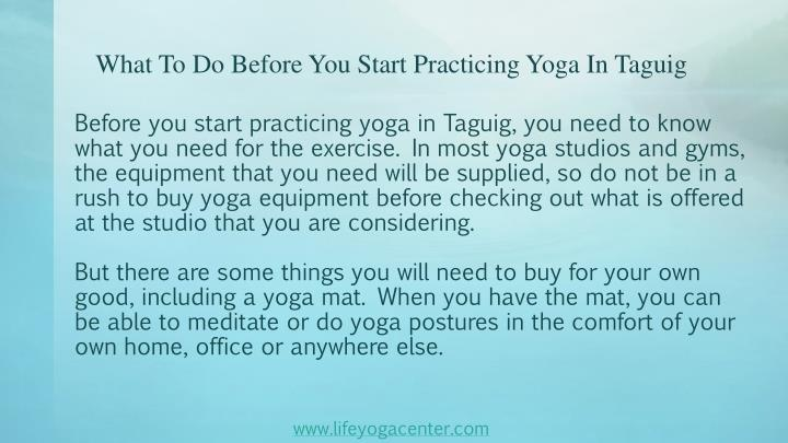 What to do before you start practicing yoga in taguig2