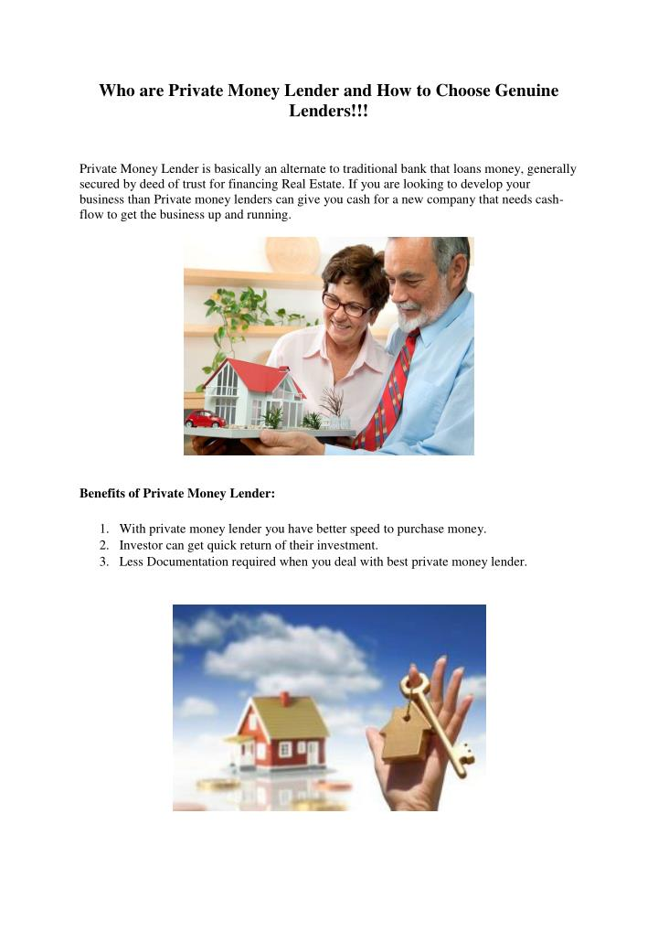 Who are Private Money Lender and How to Choose Genuine