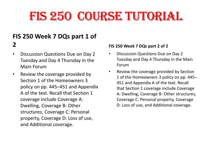 FIS 250  Course Tutorial