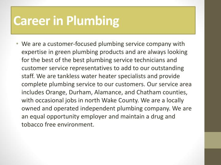 Career in Plumbing