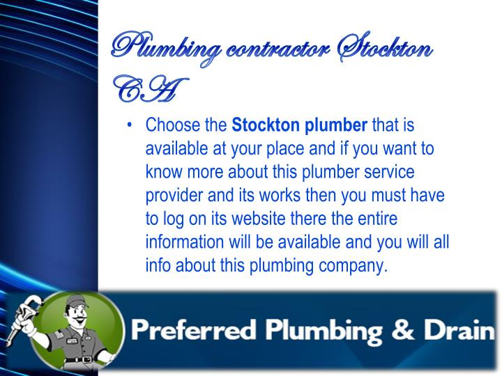 Plumbing contractor Stockton CA