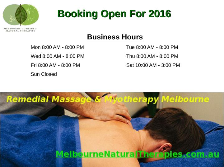 Booking Open For 2016