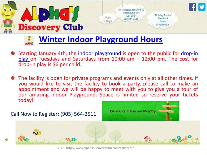 Winter Indoor Playground Hours