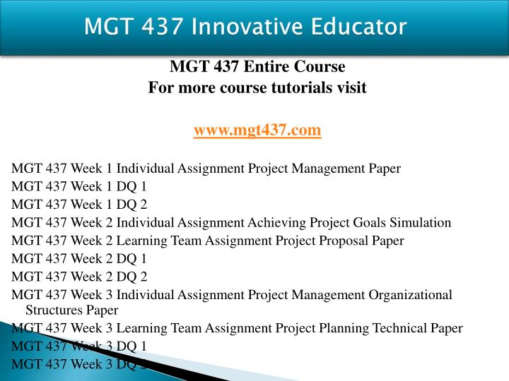 Mgt 437 innovative educator