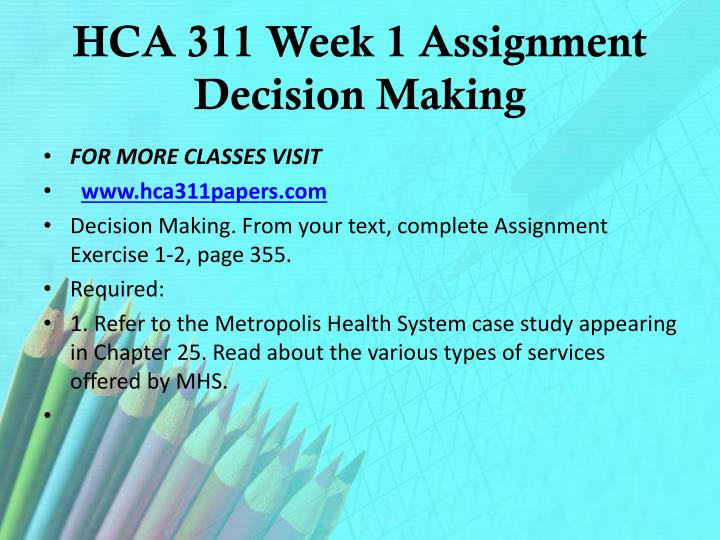 HCA 311 Week 1 Assignment Decision Making